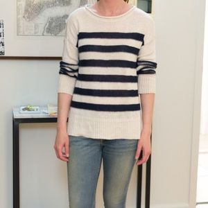 Joie Blue and White Stripe Linen sweater XS